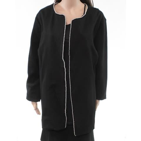 Alfani Women's Topper Jacket True Black Size 22W Plus Beaded-Edge