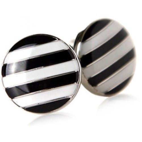 Striped Button Cufflinks Black And White