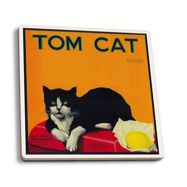 Tom Cat Lemon - Vintage Label (Set of 4 Ceramic Coasters)