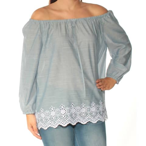 NYDJ Womens Blue Embroidered Long Sleeve Off Shoulder Top Size: S