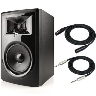 """JBL 305P MkII Powered 5"""" Two-Way Studio Monitor with XLR and 1/4"""" TRS Cable"""