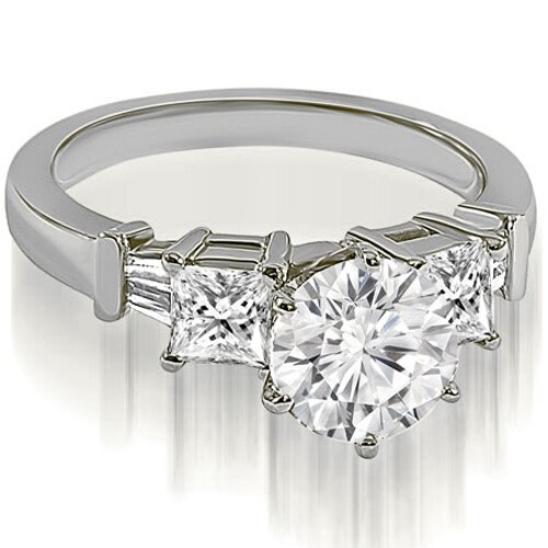 1.30 cttw. 14K White Gold Round Princess Baguette Diamond Engagement Ring