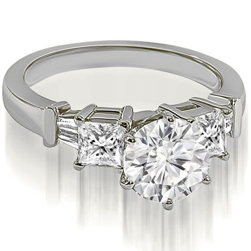 1.55 cttw. 14K White Gold Round Princess Baguette Diamond Engagement Ring