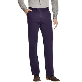 Bloomingdales Brushed Cotton Flat Front Chinos Pants Navy Blue 32 x 34