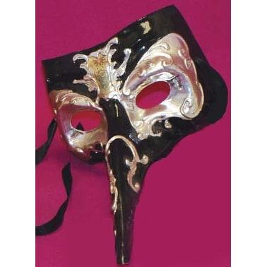 Midnight Casanova Venetian, Masquerade, Mardi Gras Mask Black/Silver - Black