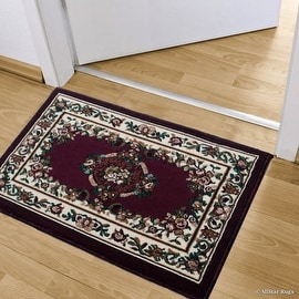 """Allstar Burgundy Doormat Accent Rug Woven High Quality High Density Double Shot Drop-Stitch Carving (2' 0"""" x 3' 3"""")"""