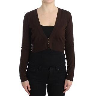 Cavalli Cavalli Brown cropped wool cardigan