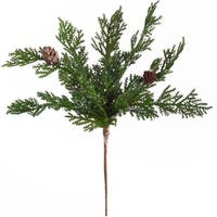 "Club Pack of 24 Holiday Festive Indoor Outdoor Icy Green Cypress Pick 9.5""H"