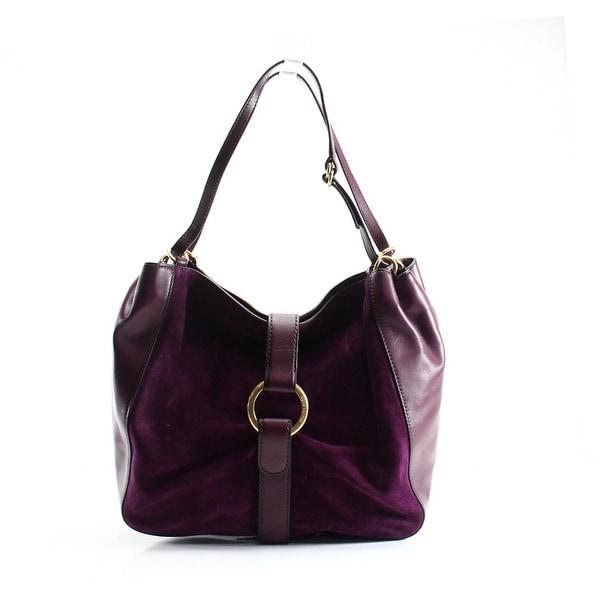 8770d3eb8cb4 Shop Michael Kors NEW Purple Plum Leather Suede Quincy Shoulder Tote ...