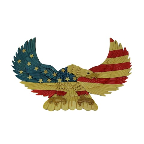 Hand Carved Intarsia American Bald Eagle Wood Art Wall Hanging - 12.25 X 19.5 X 0.5 inches