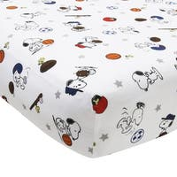Bedtime Originals Snoopy™ Sports White/Blue/Red Baby Fitted Crib Sheet