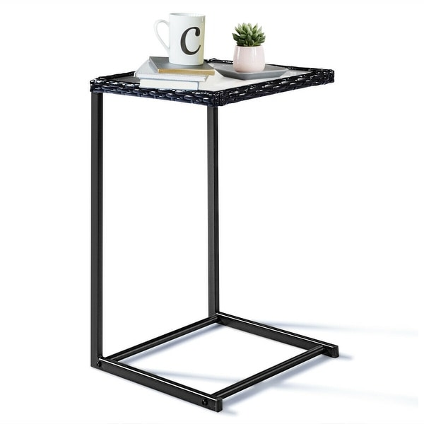 Coffee Tray Sofa Side Table: Shop Costway Brown Coffee Tray Side Sofa End Table Rattan
