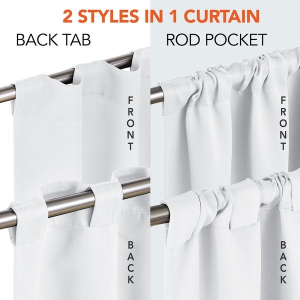Deconovo Blackout Back Tab 42 Width Curtains Panel Pair