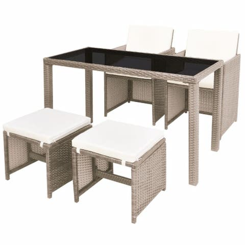 vidaXL 5 Piece Outdoor Dining Set with Cushions Poly rattan Beige