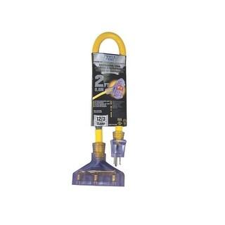 Power Zone ORADL611802 Pro Triple Tap Extension Cord, 2', Yellow