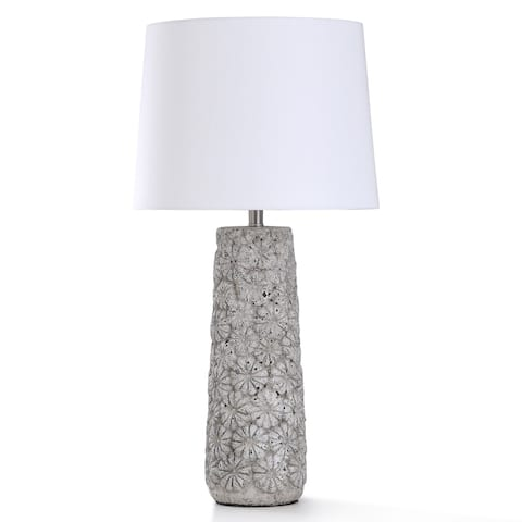 StyleCraft Arther Stone Light Gray Concrete Flower Motif Table Lamp