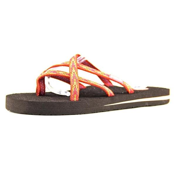 Teva Olowahu Women Open Toe Canvas Orange Flip Flop Sandal