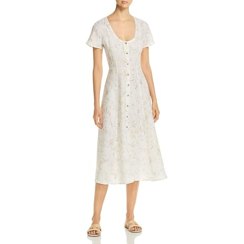 Three Dots Womens Casual Dress Linen Floral - Winter White