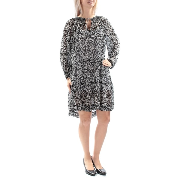 Shop Sanctuary Womens Black Tie Tie Floral Long Sleeve Keyhole Knee