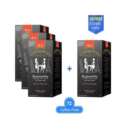 Melitta 75412 Buzzworthy 18 Counts (3-Pack) Dark Roast Coffee Pods 18 Counts