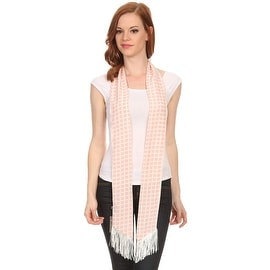 Ladies Geometric Squares Pink Skinny Scarf Sash with Fringe