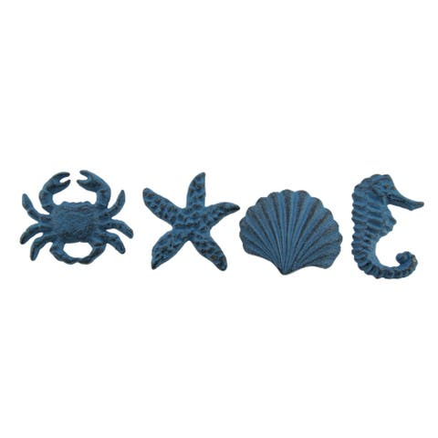 Coastal Sea Life 4 Piece Cast Iron Drawer Pull Or Cabinet Knob Set - 2 X 2.5 X 1.25 inches