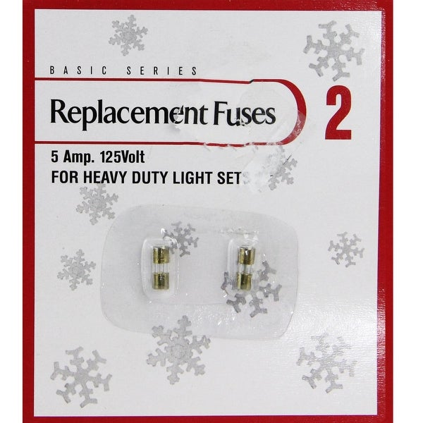 Pack of 2 Replacement Fuses for Heavy Duty Christmas Lights - 5 Amps