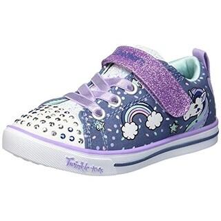 Skechers Kids Girls' Sparkle Lite-Unicorn Craze Sneaker, Denim/Lavender, 4 Medium Us Big Kid