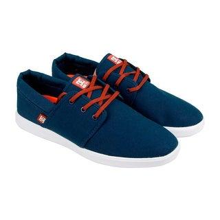 DC Haven Mens Blue Textile Lace Up Sneakers Shoes