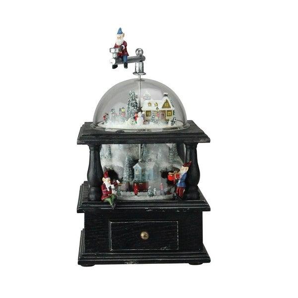 "10.25"" Musical Old Fashioned Santa's Workshop Crank Christmas Decoration"