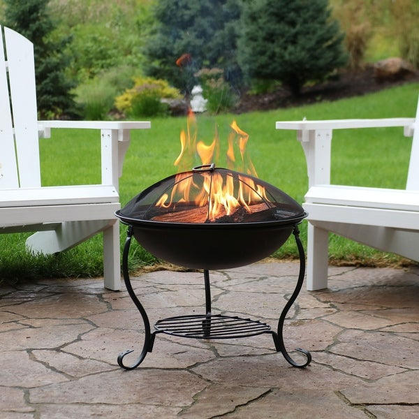 Sunnydaze 18 Inch Black Steel Fire Pit With Spark Screen And Built In Log