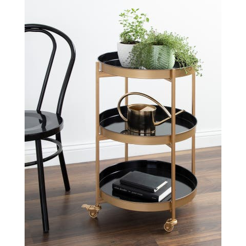 Kate and Laurel Celia Round Metal Bar Cart