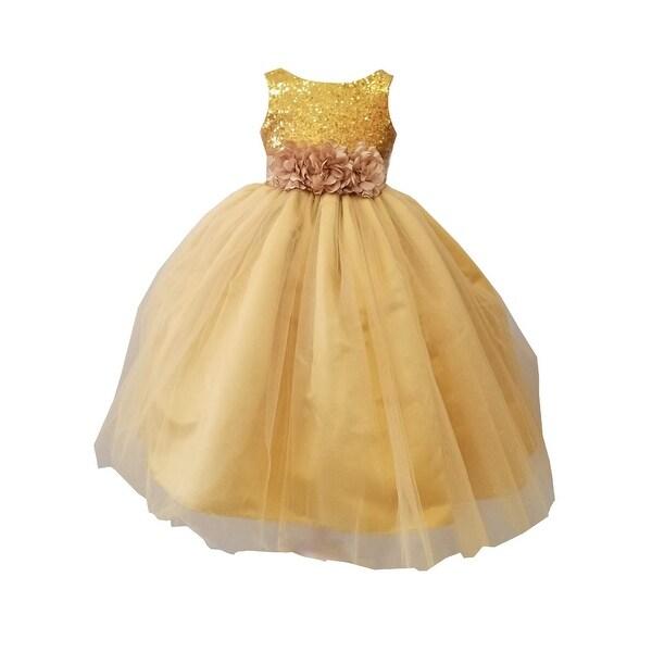 68dfac26ee23b Sinai Kids Little Girls Gold Sequin Tulle Flower Girl Dress 2-6