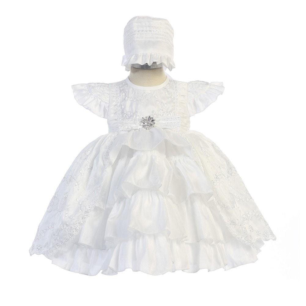 Cinderella Couture Baby Girls White Sequin 3D Flower Bonnet Baptism Dress 6-9M