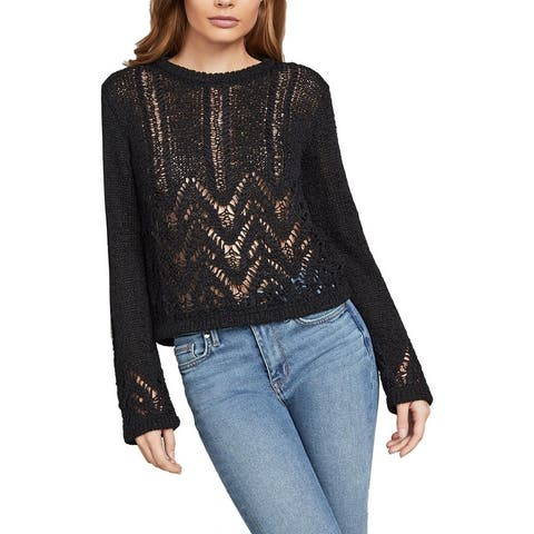 BCBG Max Azria Women's Mixed Stitch Long Sleeve Pullover Sweater