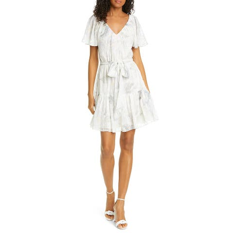 REBECCA TAYLOR Beige Short Sleeve Short Dress M