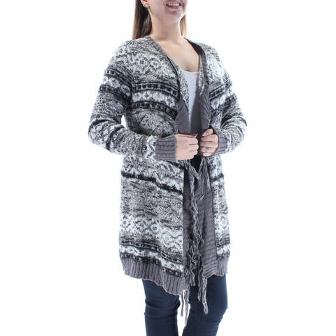 AMERICAN RAG Womens Gray Fringed Long Sleeve Open Cardigan Sweater Size: L
