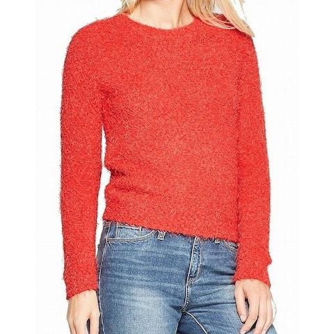 Living Doll Red Size Medium M Junior Crewneck Eyelash Knit Sweater