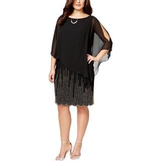 Xscape Womens Plus Cocktail Dress Chiffon Overlay Scalloped