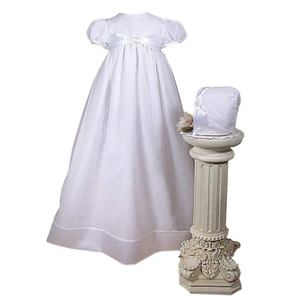 Baby Girls White Organza Satin Hem Bonnet Christening Dress Gown - 0-3 months