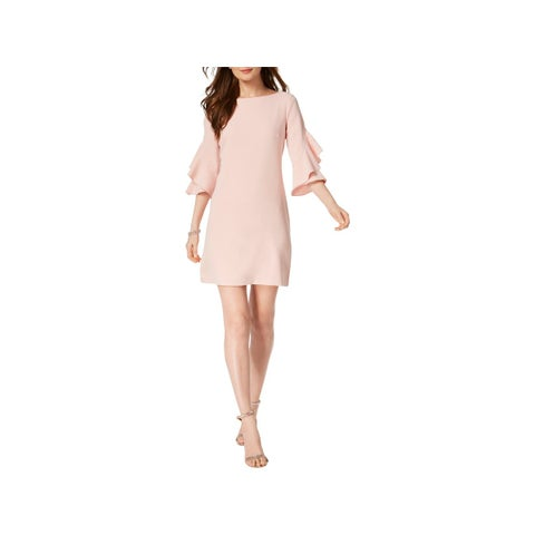 Taylor Womens Mini Dress Bell Sleeves Ruffled