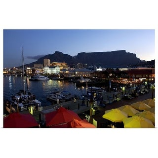 """""""Boats in the harbor and Table Mountain in South Africa"""" Poster Print"""