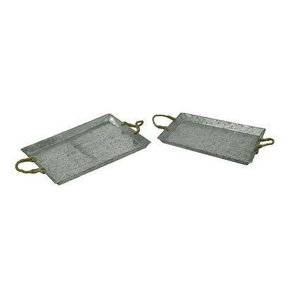 Galvanized Metal Rustic Serving Tray W Jute Rope Handles Set Of 2 1 5 X 20 14 Inches