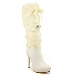 Nina Henriq Women Round Toe Synthetic White Knee High Boot