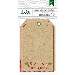 "American Crafts Holiday Tags 12/Pkg-4.25""X2.875"" Kraft W/Gold Foil"