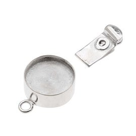Beadsmith Silver Plated Round Box Clasp With 15mm Bezel (1 Set)