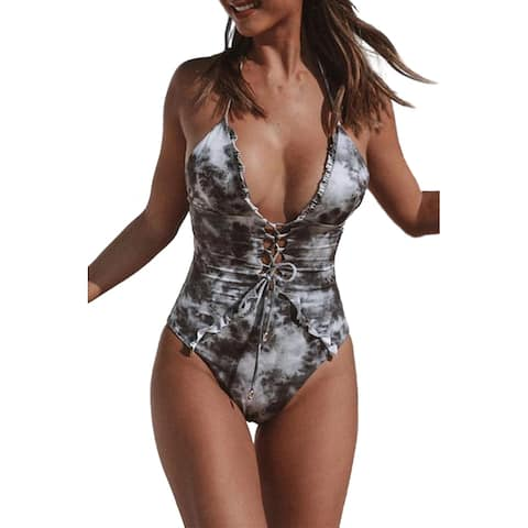Cali Chic Women's One Piece Swimsuit Celebrity Gray Lace Up Front Plunging V One Piece Swimwear