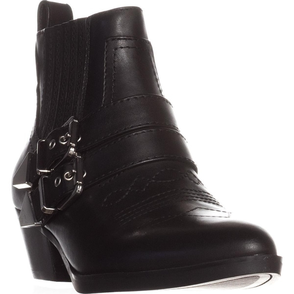 Guess Violla Casual WesternAnkle Boots, Black Leather