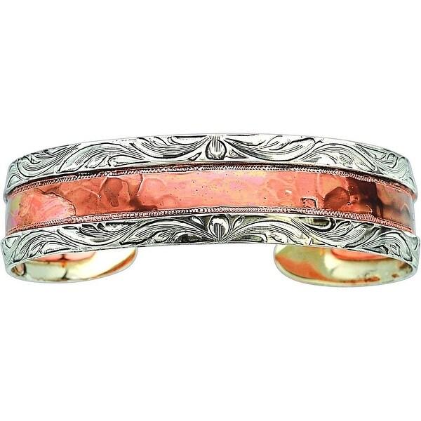 Bar V Western Womens Bracelet Hand Engraved Hammered Silver 314-220