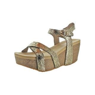 Volatile Womens Nocturnal Platform Sandals Metallic Criss-Cross